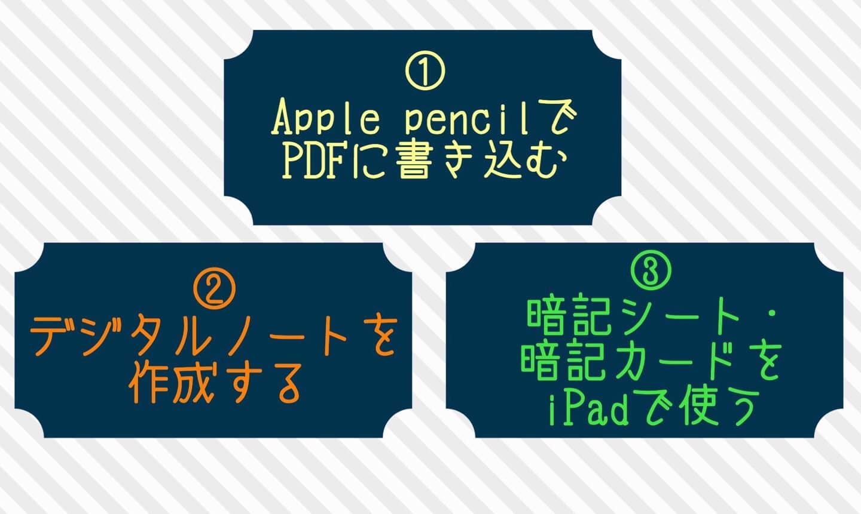 iPadデジタル勉強の3つの柱を示した図