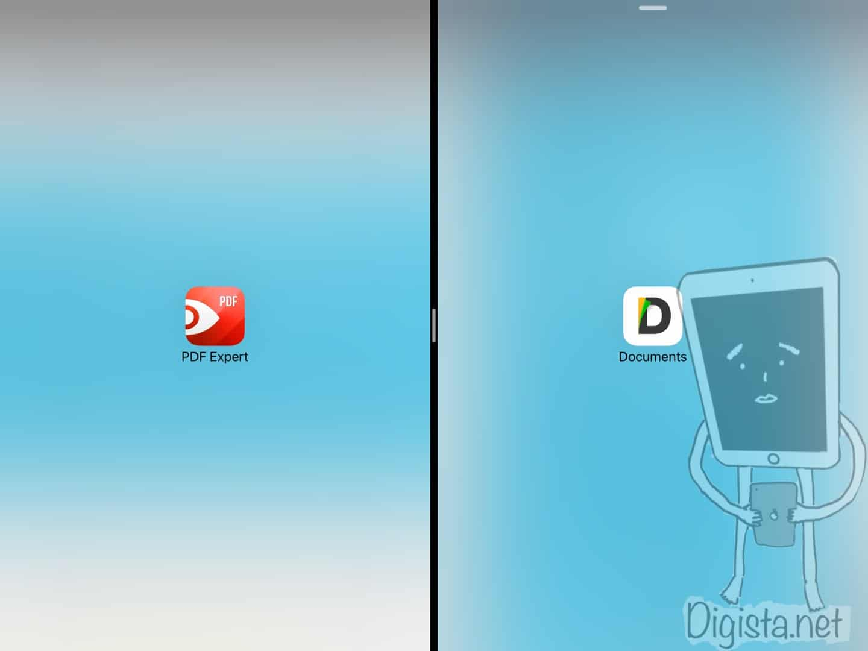PDF ExpertとDocumentsでsplit viewを使って2画面表示